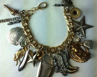 Cowboy Cowgirl Texas Assemblage Bracelet. Charm Bracelet.