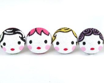Matryoshka earrings - cute fabric earrings - button earrings - tiny doll babushka - kawaii girl stud earrings - present for her