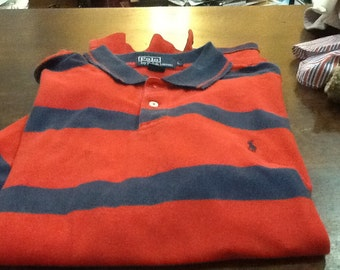 Vintage POLO RALPH LAUREN Short Sleeved Cotton Knit Polo Shirt Red Blue Striped Large