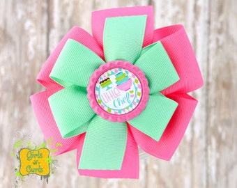 Large Stacked Pinwheel Hair Little Chef Ready To Ship
