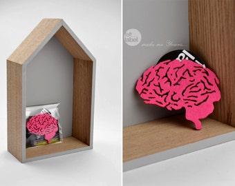 Felt brooch pink brain shape pink brain