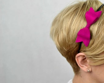 Headband with pink bow made of eco leather