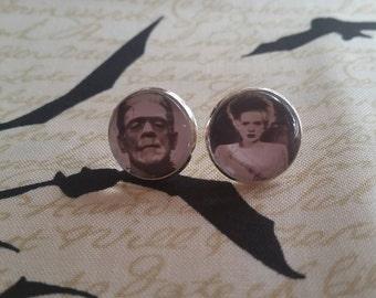 Frankensteins monster and bride of frankenstein inspired large post earrings