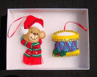 Premium Handmade Christmas Bear and Drum Ornaments