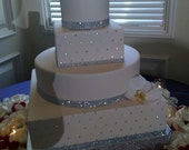 """Bling Wedding Cake Stand 18 inch """"Square Dazzling Diamonds Bling"""""""