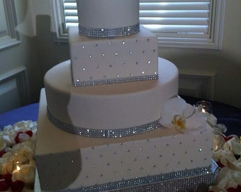 "Bling Wedding Cake Stand ""Square Dazzling Diamonds"" 14"", 16"", 18"", 20"", and 22"""