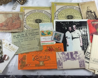 Vintage French labels Altered Art old photo ASSEMBLAGE Mixed Media LOT *~*