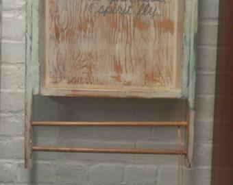 JEWELRY Bathroom Towel Bar ORGANIZER Wall Shelf Upcycled Reclaimed Salvaged Wood Antique Factory Industrial  Distressed Van Morrison lyrics