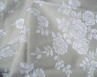 Vintage French Damask Linen woven Roses Soft Mushroom beige natural fabric textile material