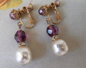 MIRIAM HASKELL Baroque Pearl Amethyst Crystal & Rondelle Dangle Earrings