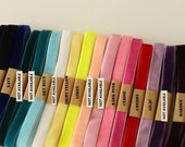 Moving Clearance---20 yds elastic/stretch velvet ribbon for Headbands/Lingerie/Costume/Altered Couture---3/8'', choose your colors