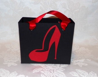 Set of 5 MEDIUM SIZE Black and Red High Heel Shoe Gift Bags