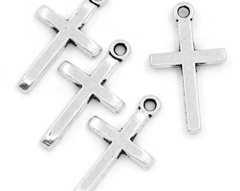 60pcs. Antique Silver Cross Charms Pendants - 24x14mm
