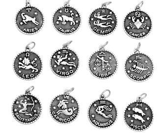 12pcs. Antique Silver LARGE Zodiac Constellation Charm Pendants- 23mm x 20mm - Wax Design