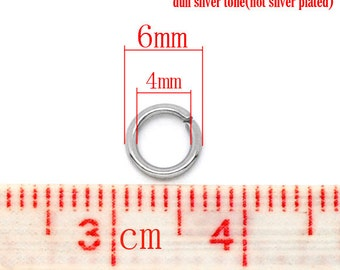 100 pcs Stainless Steel Open Jump Rings 6mm - 18 Gauge - High Quality