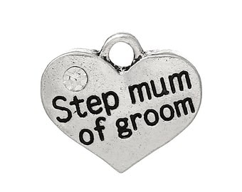 """1 or 2 or 4 pcs. Antique Silver """"Step Mum of Groom"""" charm with rhinestone - 17mm X 15mm"""