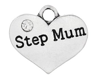 """1 or 2 or 4 pcs. Antique Silver """"Step Mum"""" charm with rhinestone - 16mm X 15mm"""