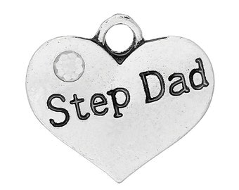 """1 or 2 or 4 pcs. Antique Silver """"Step Dad"""" charm with rhinestone - 16mm X 15mm"""