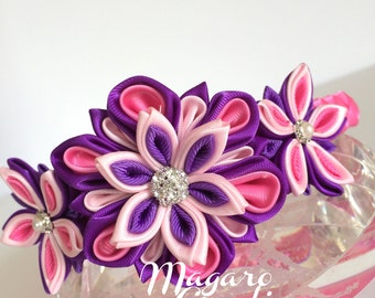 Flower headbands,kanzashi,girl headband,girl headband,headband for girls,kanzashi headband,headband with flowers,toddler headband.