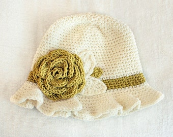 6 to 12m Crochet Sun Hat Baby Hat in Cream and Mustard Yellow Crochet Rose Flower Hat Cloche Hat Baby Girl Baby Flapper Girl Photo Prop