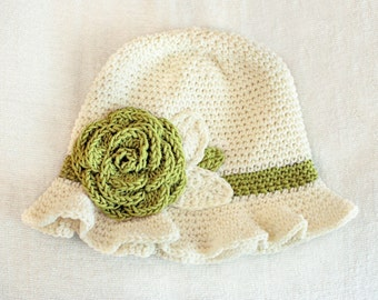 6 to 12m Crochet Sun Hat Baby Hat in Cream and Green - Crochet Rose Flower Hat Cloche Hat Baby Girl Baby Flapper Girl Photo Prop  Baby Gift