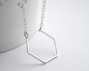 Geometric necklace, silver hexagon necklace, dainty simple necklace, everyday jewelry