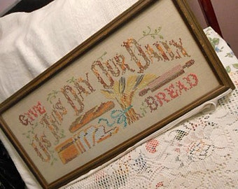 Embroidered DAILY BREAD SAMPLER Colorful Cross Stitch Vintage Linen, Gold Wheat Loaves Rolling Pin, Framed Handmade Give Us This Day Wall