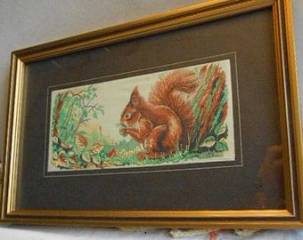 WOODSY CHIPMUNK With NUT Fiber Art, Detailed Silk Rayon Weaving, Rich Earth Brown Tan Gold Colors, Gilded Frame Rustic Nature 6 x 9 Frame