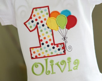 Rainbow Birthday Balloons Toddler Tee Shirt - ANY AGE - First, Second, Third, Fourth, Fifth Birthday - Party - Pictures
