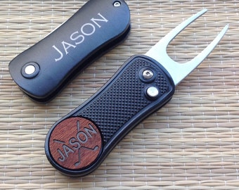 Personalized Golf Ball Marker / Switch Blade Style, Golf Divot Tool, Groomsmen Gifts, Groom Gift, Golf Gift, Wedding Favor, Best Man Gift