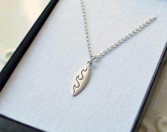 Surfboard Necklace, Sterling Silver, Boys Surf Jewelry, Rolo Chain, Child Children, Cute Charm, Beach Jewelry