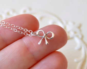 Sterling Silver Bow Necklace, Custom Birthstone, Simple Gemstone Jewelry, Child, Holiday, Christmas Gift for Girls