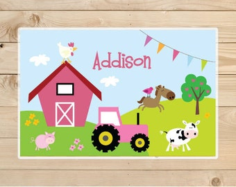Kids-Personalized-Placemat---Farm-Animals-Placemat-for-Girls