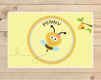 Kids-Personalized-Placemat---Personalized-Bee-Placemat A personalised-children's gift idea.