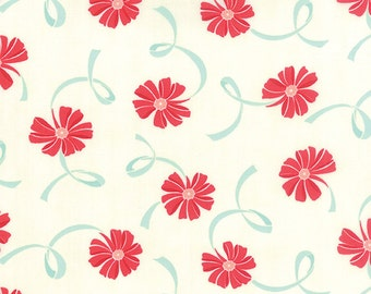 Hello Darling - Ribbon in Aqua and Red by Bonnie & Camille for Moda Fabrics