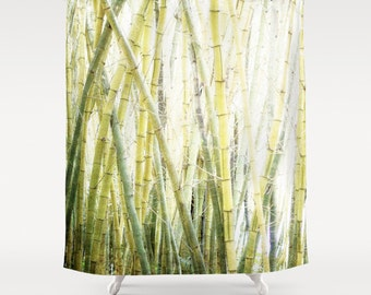 Superb Shower Curtain, Minimalist, Zen, Bamboo, Fog, Green, White, 71x74