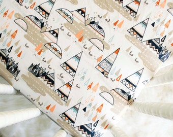 Fitted Crib Sheet - Teepees and Foxes in Oak