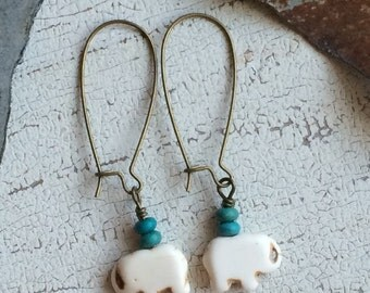 Howlite and Turquoise Elephant Earrings