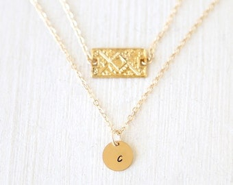 Stamped 14K Gold Filled Initial Circle and Intricate Rectangle Layering Necklaces Set // Everyday modern simple jewelry