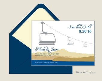 Chairlift Rustic/Getaway Mountain Resort Save the Dates/Lake Tahoe or other Mountain