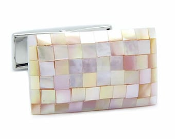 Pink Mosaic Shell Cufflinks