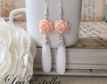 Long Pink flower earrings, Pink Shabby Chic earrings, Pink and white Dangle Earrings, Romantic pink earrings, Sweet rose earrings