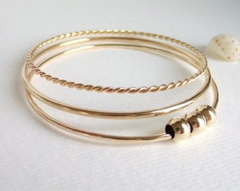 Gold Fill Bangle Set of Three Bracelets Each Unique Twisted Plain & Beaded HANDMADE FOR YOU