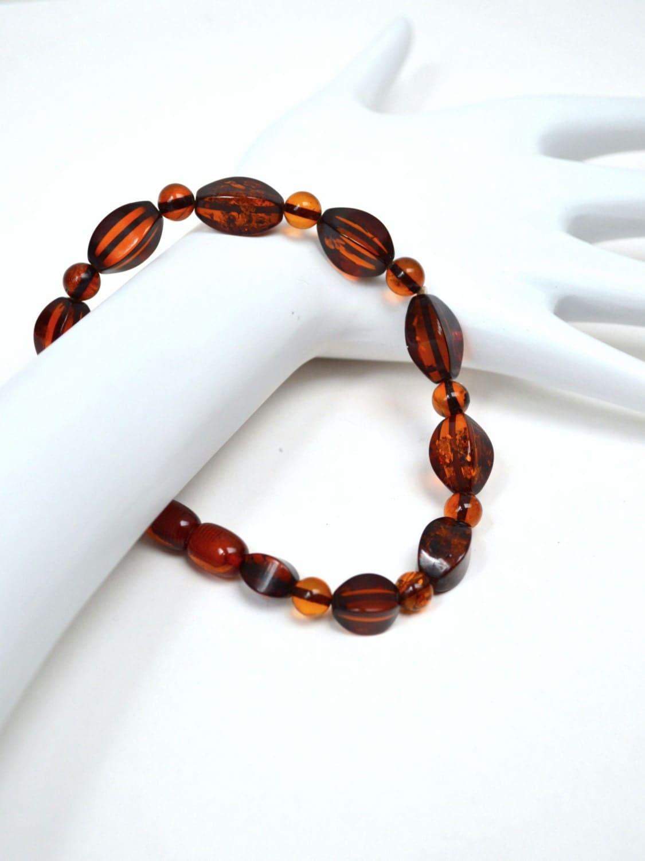 Vintage bakelieten armband amber kleur kralen door allfairness