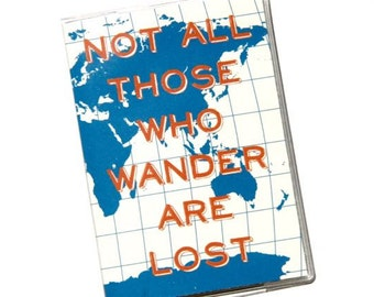 PASSPORT COVER - Not All Those Who Wander Are Lost - Blue World Map. Passport Holder. Travel Wallet. Passport Protector. Travel Accessories.