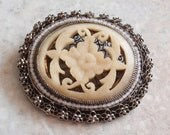 Carved Bone Brooch Sterling Silver Filigree Chinese Export Vintage V0620