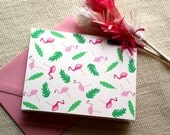 Illustrated Hot Pink Flamingo and Fronds Folded Blank Greeting Card Stationery Set