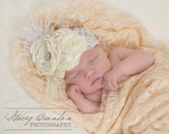 Ivory Lace Feather Headband, Baby Headband, Baby Girl Headband,Lace Headband, Feather Headband, Vintage Headband, Flower Girl Headband