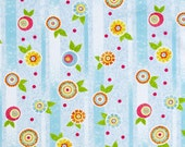 The Garden Club Flower Stripe in Blue by Shelley Detton for Benartex - cotton quilting fabric - BTY