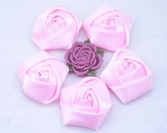 8 Pink roses / satin roses / ribbon flower / Satin Flowers / fabric flower / Satin Rose Flowers 45x20mm